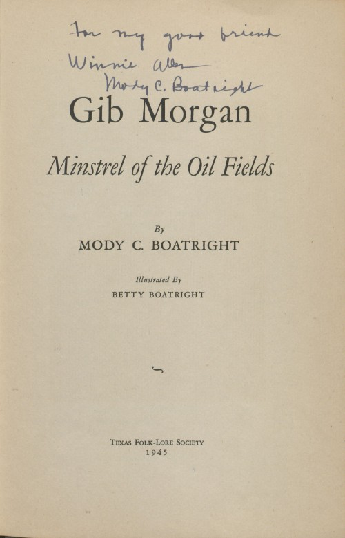 Title Page of Gib Morgan, Minstrel of the Oil Fields