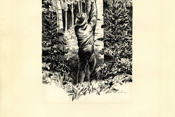 Tom Lea's original pen and ink illustration titled Nat Straw's Poem.