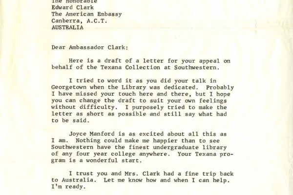 Letter from F. Warren Roberts to Edward A. Clark