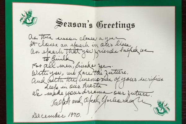 Christmas card from Ralph and Opal Yarborough to Edward A. Clark, December 1970.
