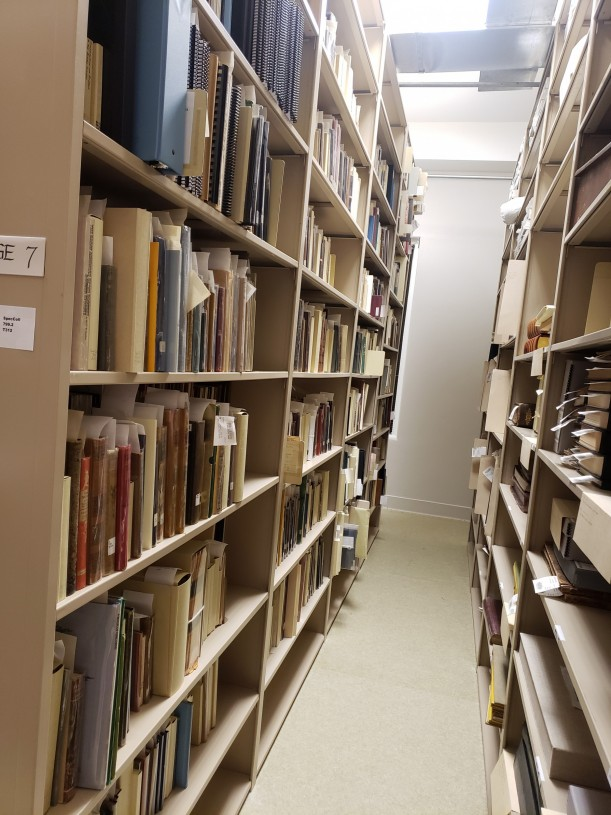 Rows of Special Collections materials.