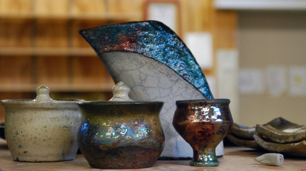 Students finished pieces from the raku process