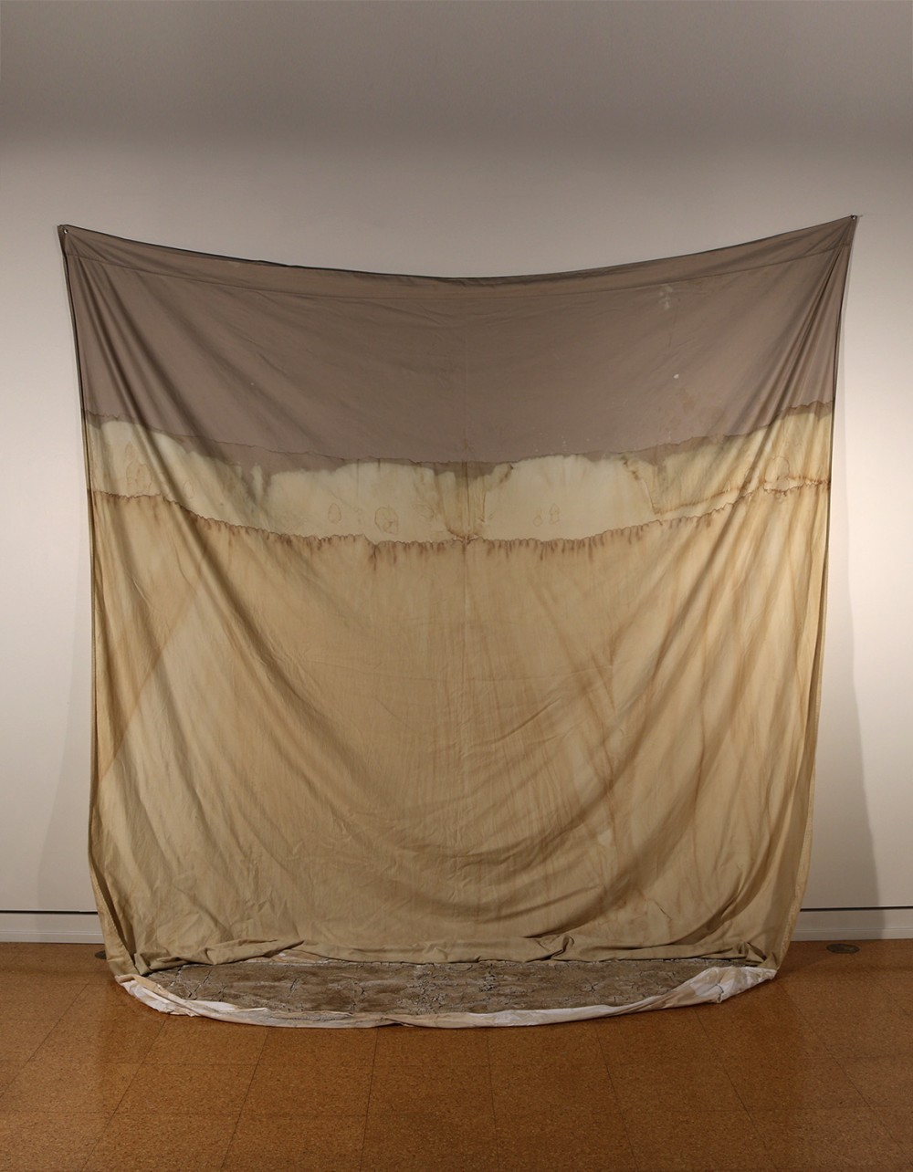 "Elena Gonzalez, ""Receding Waters"", Reclaimed bedsheets, bleach, coffee, clay, 8'2"" x 8'6"" x 2'4""..."