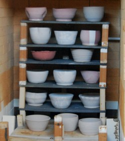 Last round of bowls inside the kiln for firing