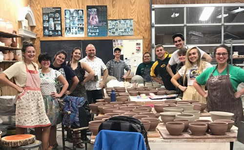 Ceramics Students create bowls for the Empty Bowls Organization