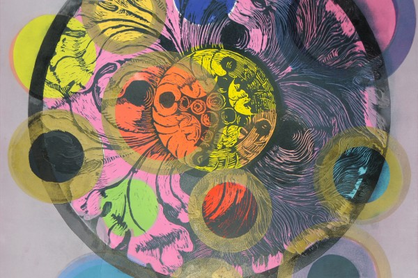 "Susan Goldman, Flower Power III, monotype with woodcut, 2014, 42"" x 30"""