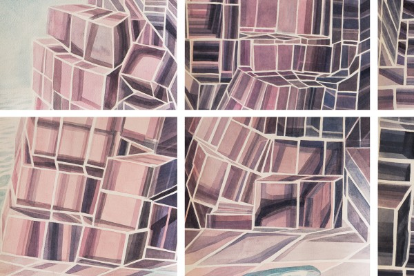 "Cynthia Camlin, ""Island of Ought and Naught"" (detail), Watercolor on paper mounted on panels, 54"" x 75,"" 2015."
