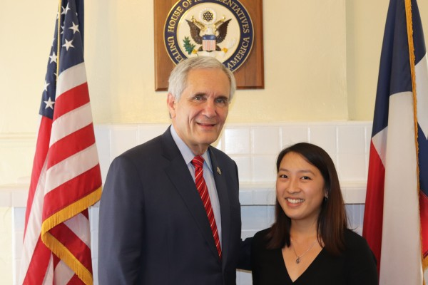 Madeline Carolla '19 with Congressman Lloyd Doggett