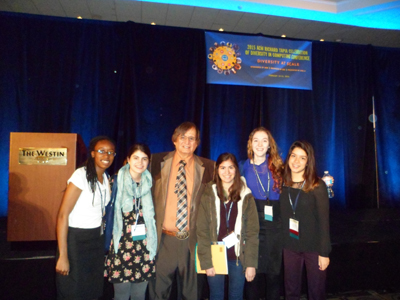Five SU CS majors at the 2015 ACM Richard Tapia Celebration of Diversity in Computing Conference in Boston. From left to right, Brittany Pugh, Christine Harbour, Dr. Richard Tapia, Valerie Vacek, Jordan King, and Natalia Rodriguez.