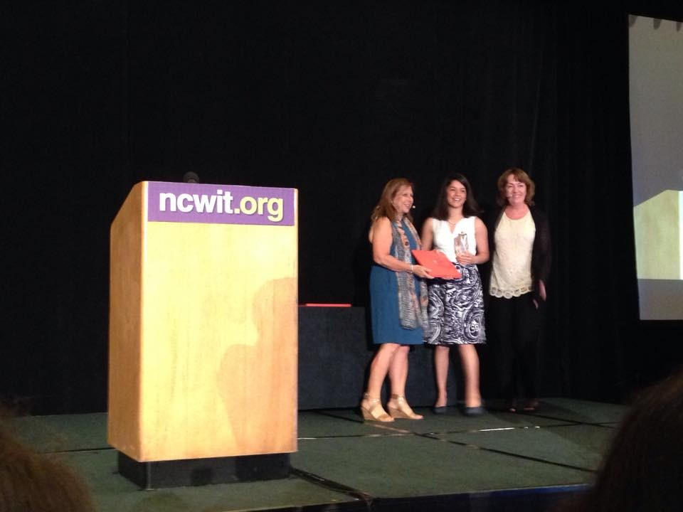 Natalia Rodriguez receives the NCWIT Collegiate Award