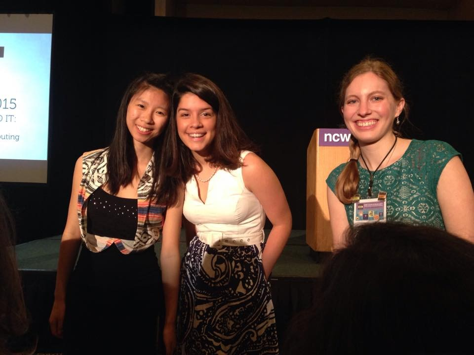 Natalia Rodriguez (center) and the other two recipients of the NCWIT Collegiate Award