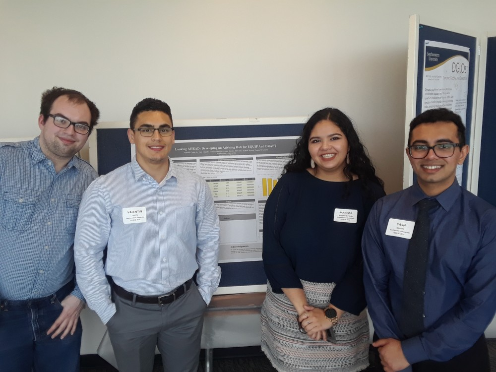 Four members of the CS Capstone Group present their poster at CCSC: Kolton Noreen, Valentine Cantu, Marissa Madrid-Ortega,...