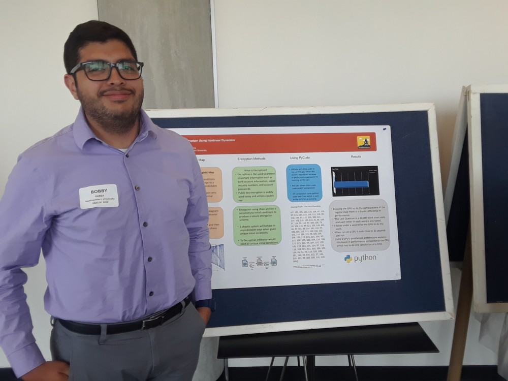 Bobby Garza presents his SCOPE summer research at CCSC. His research was supervised by Physics professor Dr. Chris Curry.