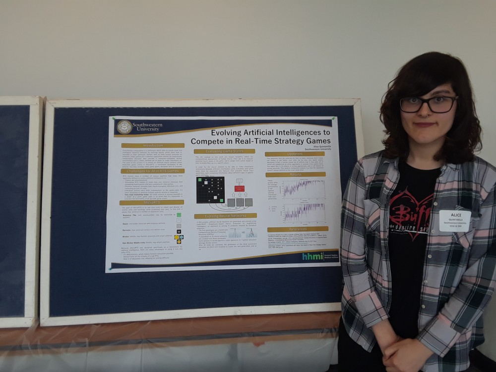 Alice Qunitanilla presents her SCOPE summer research at CCSC. This research was supervised by Dr. Jacob Schrum.