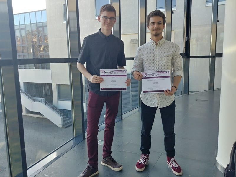 Cameron Henkel and Colin Scruggs with their award certificates in Berlin at IEEE VIS