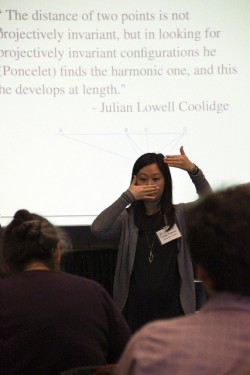 "Fumiko Futamura, Southwestern University, presents during MAA Minicourse #5 ""Visualizing projective geometry through ..."