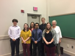 Old and new members of UPE: Ryan Beeman, Lauren Gillespie, Dr. Barbara Anthony, Yash Gandhi, Dr. Jacob Schrum, Emma Kathry...