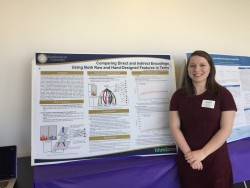 Student Lauren Gillespie in front of her poster based on research with Dr. Jacob Schrum which started as part of SCOPE