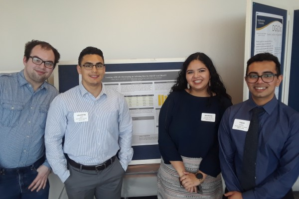 Four members of the CS Capstone Group present their poster at CCSC: Kolton Noreen, Valentine Cantu, Marissa Madrid-Ortega, and Yash Gandhi. The CS Capstone work was supervised by Dr. Barbara Anthony.