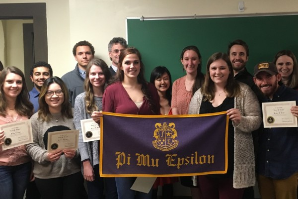 Old and new members of PME: Jillian Bradley, Sarah Coe, Madison Edwards, Morgan Engle, Yash Gandhi, Manyun (Lily) Liu, Kristen McCrary, Nhi (Penny) Phan, Cory Schovanec, Joshua Truitt, Emma Kathryn Groves, Dr. Kendall Richards, Dr. Alison Marr, Dr. Gary Richter, Dr. Fumiko Futamura, Dr. John Ross, and President Edward Burger.