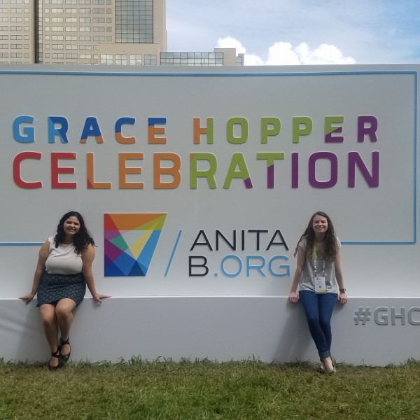 Marissa Madrid-Ortega and Kristen McCrary at the Grace Hopper Celebration of Women in Computing
