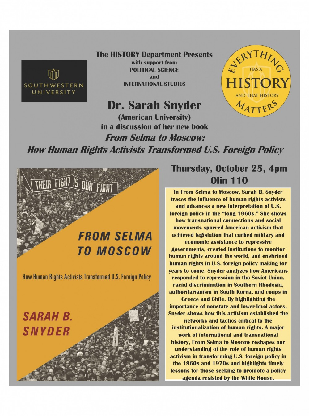 "Dr. Sarah Snyder ""From Selma to Moscow: How Human Rights Activists Transformed U.S. Foreign Policy"""