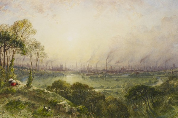 Manchester from Kersal Moor, with rustic figures and goats, William Wyld, 1852