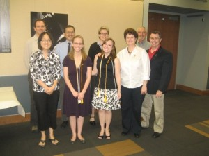 Students inducted into Pi Kappa Lambda, the national music honor society, after the ceremony, Spring 2009.