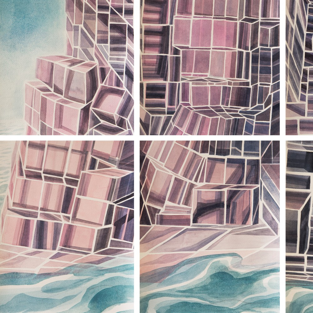 "Cynthia Camlin, Island of Ought and Naught (detail), Watercolor on paper mounted on panels, 54"" x 75,"