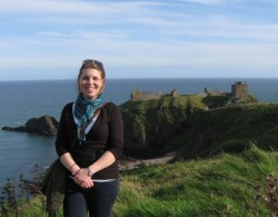 Ms. Nau at Dunnottar Castle, on the west coast of Scotland
