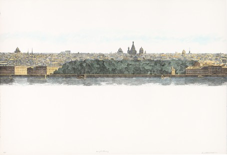"Leonard Lehrer, ""View of St. Petersburg"", Hand colored lithograph, 1978/2012. Image courtesy of the artist."