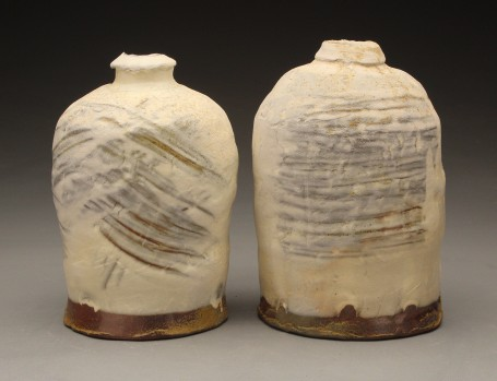 "Eamon Rogers, ""Bottles"", Wood fired earthenware, 2016, 7"" x 4"""