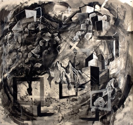 "Taylor Bailey, ""Adamant"", Charcoal and ink, 2016, 42"" x 45"""