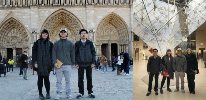 Art students at Notre Dame and the Louvre in Paris, France, on faculty led trip.