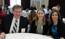 Jenna, winner of Biology and Classics prizes, with Biology Prof. M. Cuevas (rt.) and Classics Prof. H. Haskell (left)
