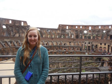 Advanced Latin student Morgan Gribble studies Roman antiquities on the SU Chorale Trip to Italy 2013: Colosseum
