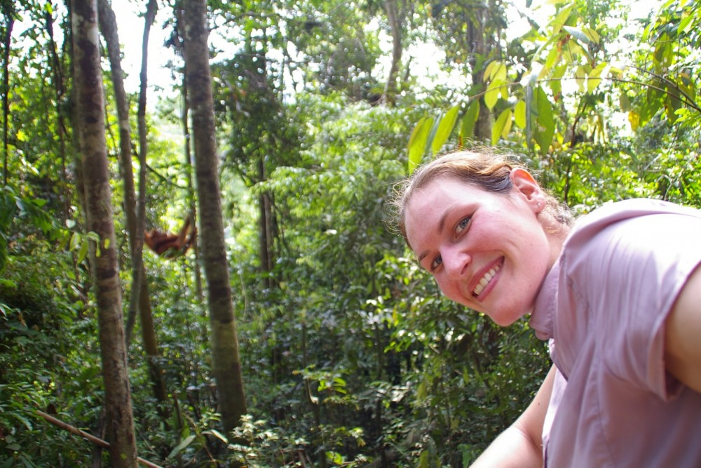 2002 graduate Stephanie Braccini recently travelled to Sumatra and Borneo to observe wild orangutans. She is shown here in...