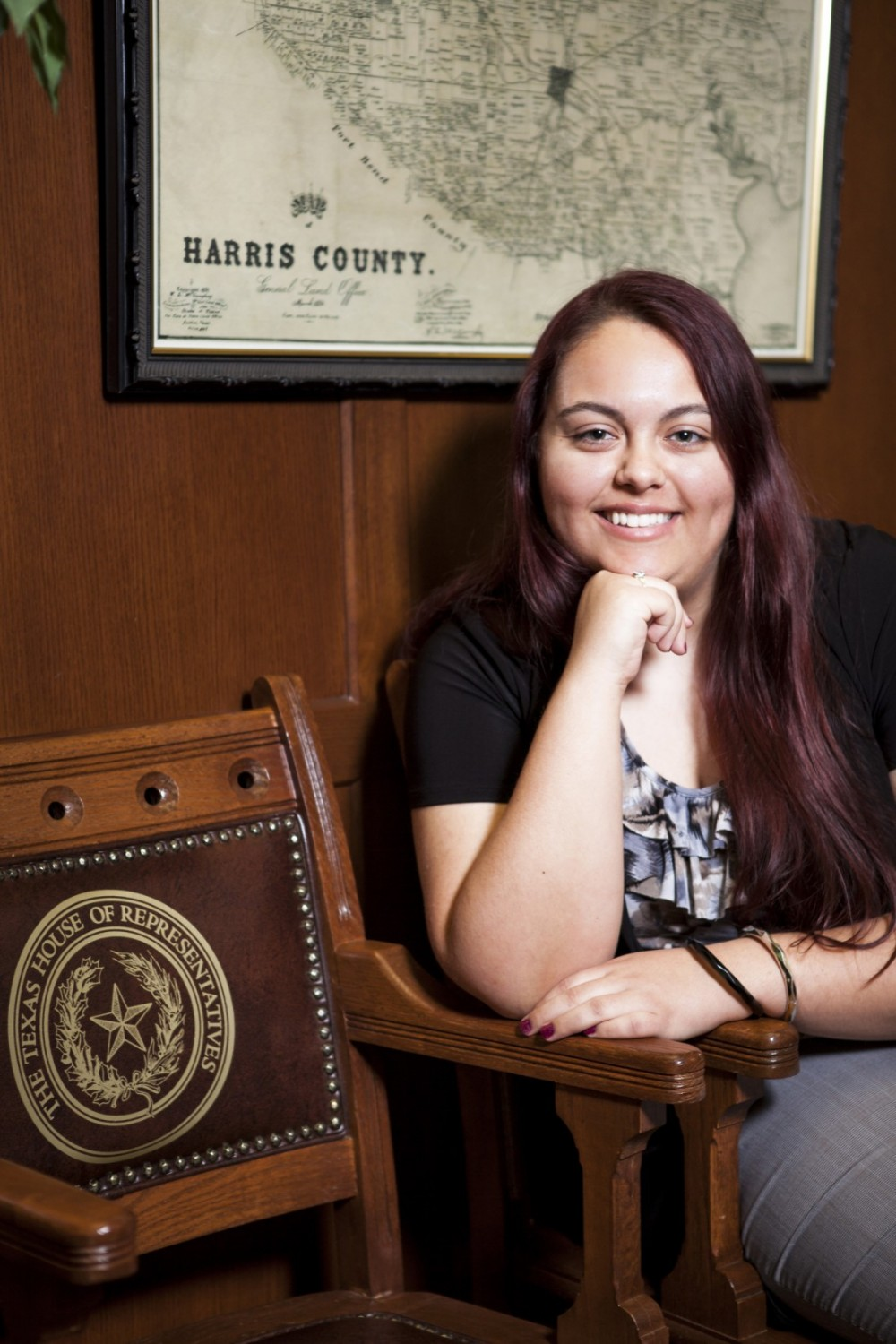 Sophomore political science major Erica Hernandez is working with the House Democratic Caucus. (Photo by Lance Holt)