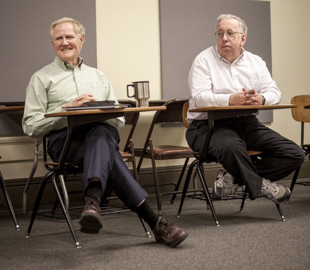 Southwestern's two accounting professors - Fred Sellers (left) and John Delaney (right) - both have Ph.D.s in accounting a...