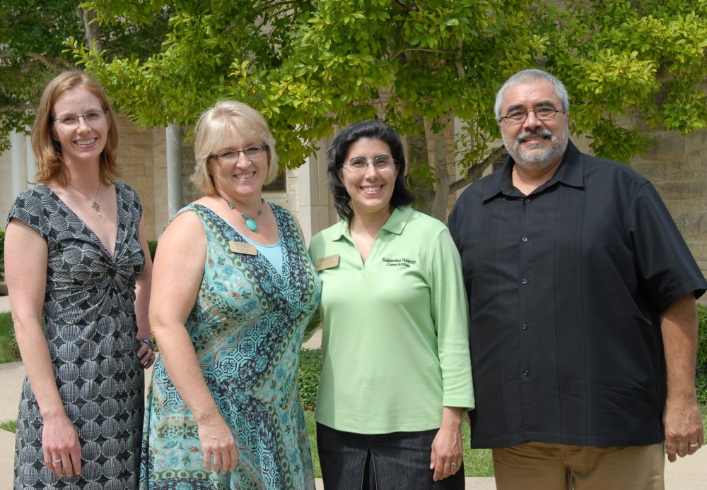 Daniel Orozco (right) stands with the other members of the Career Services staff: Associate Director Alexandra Anderson, S...