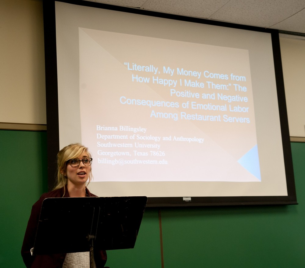 Brianna Billingsley presents her award-winning paper at Southwestern's 2014 Research and Creative Works Symposium.