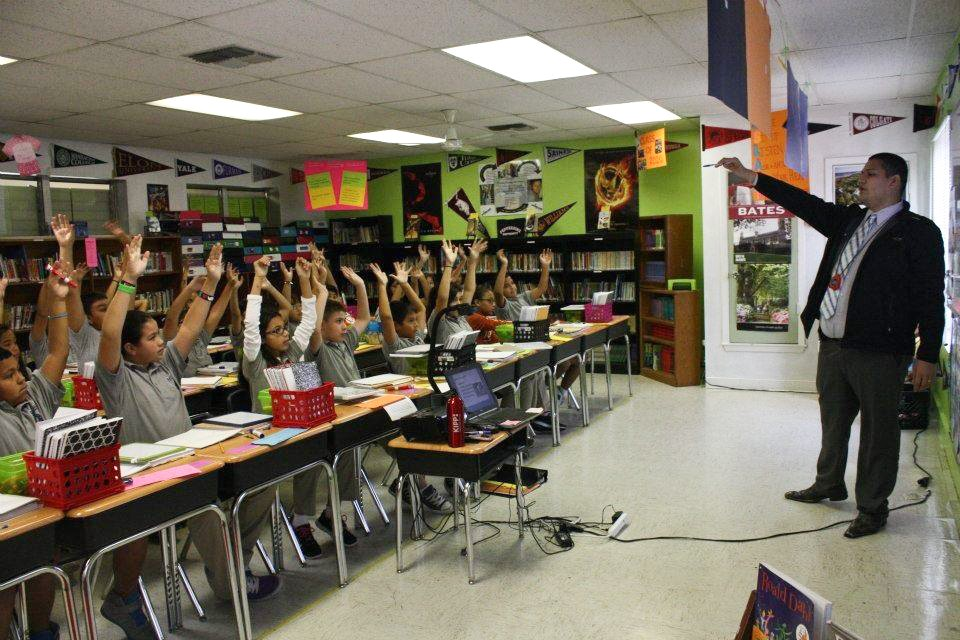 Juan Juarez in the classroom at KIPP Camino Middle School in San Antonio.