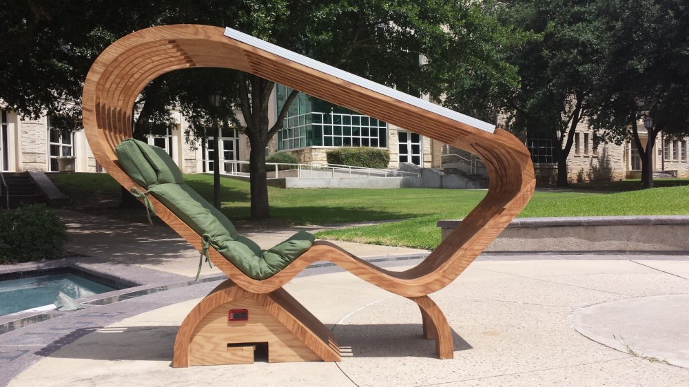 Students Keeley Coburn, Amir Hessabi and Chandler Johnson developed a solar lounge chair, which will be placed in location...