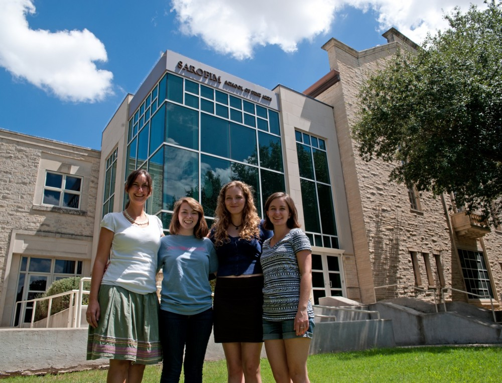 Dana Zenobi (left) stands in front of the Fine Arts Building with her students Abigail Jackson, Melissa Krueger and Kelsey...