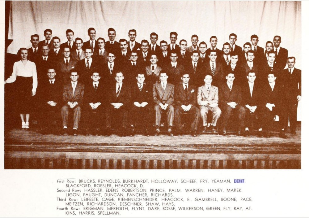 This photo from the 1948 Sou'Wester yearbook shows Roy Dent sitting with other members of the Men's Chorus. Dent is on the...