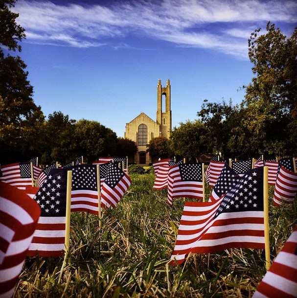Flags on the Academic Mall commemorating Veteran's Day