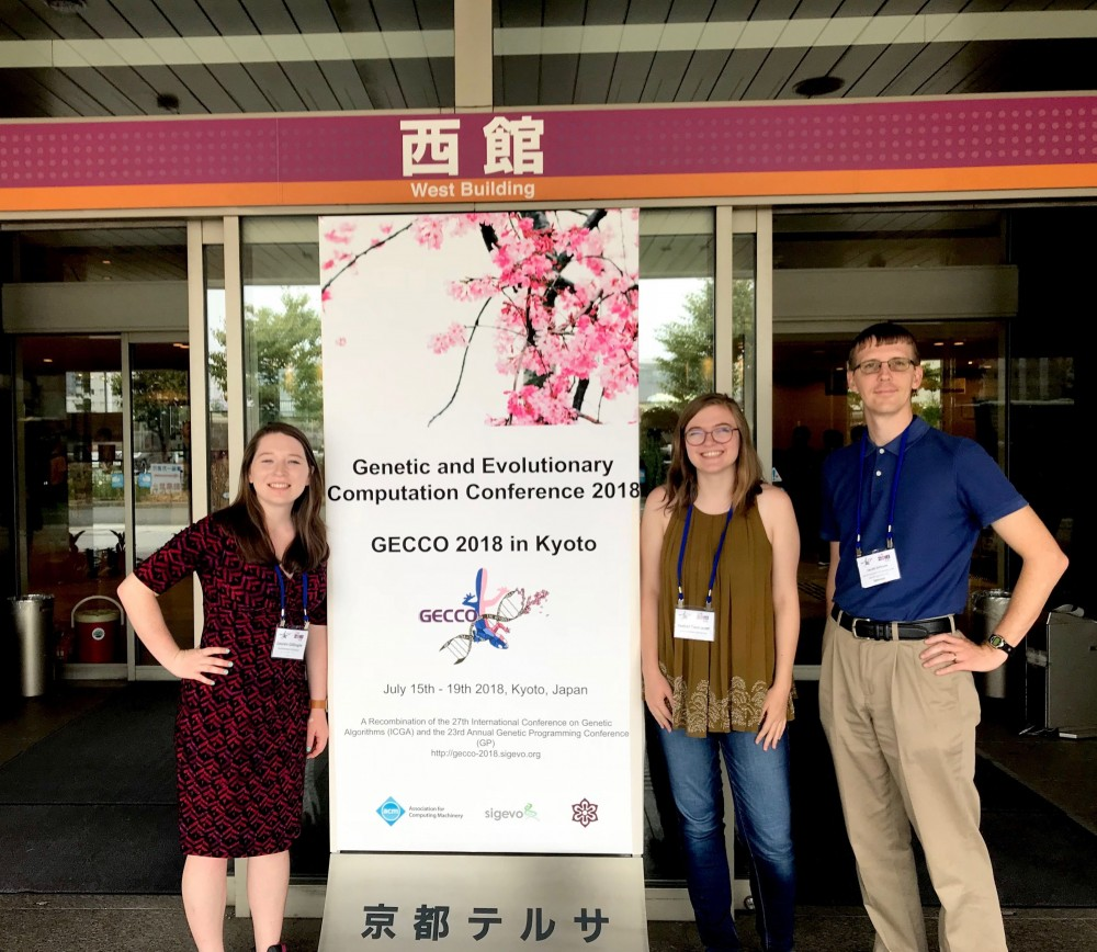 Isabel Tweraser '19 at the Genetic and Evolutionary Computation Conference in Kyoto with Assistant Professor of Compu...
