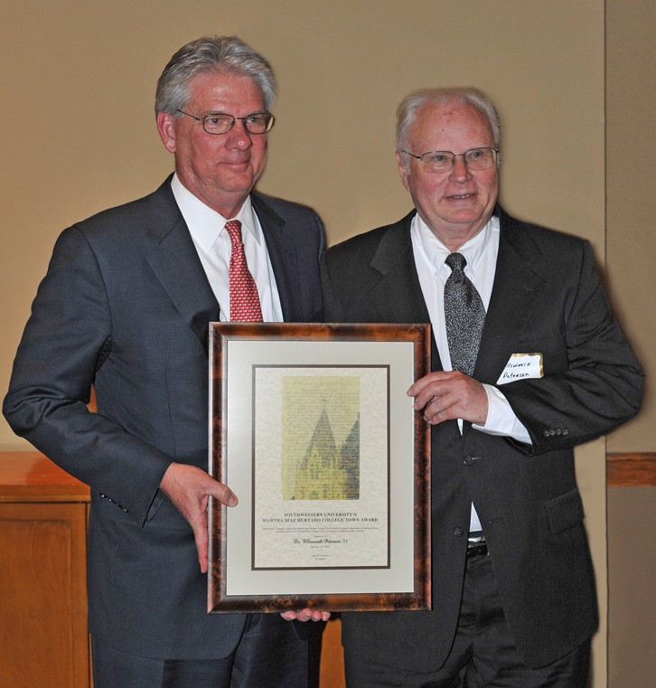 Ellsworth Peterson and President Jake B. Schrum at the presentation of the 2010 College Town Award. (Photo by Lucas Adams)