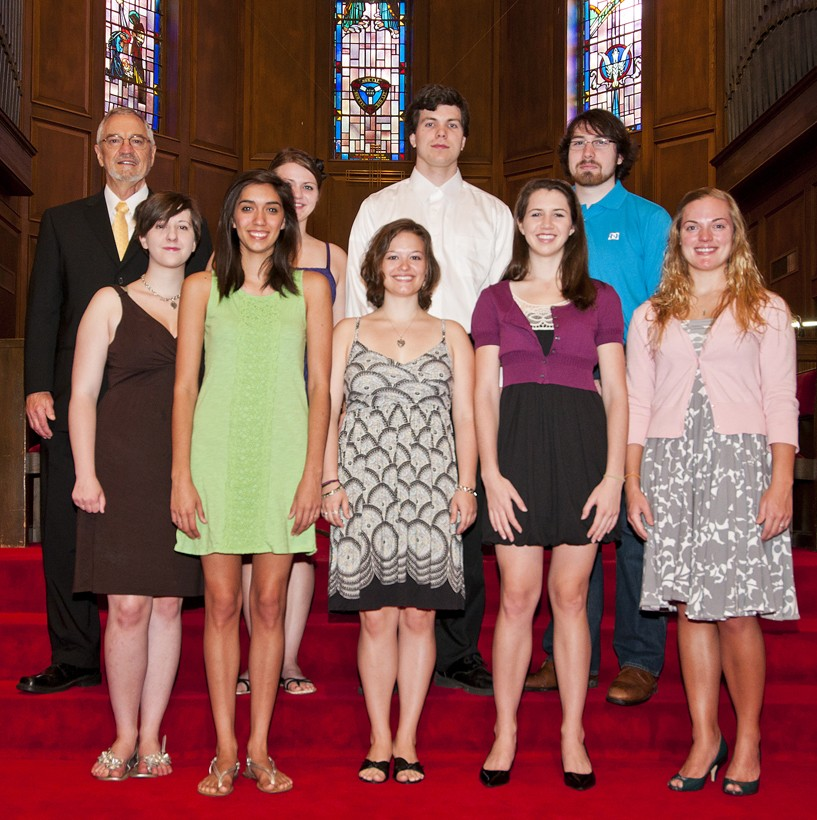 Kenny Sheppard (back row, left) stands with members of the SU Chorale who are going to China this summer. In the front row...