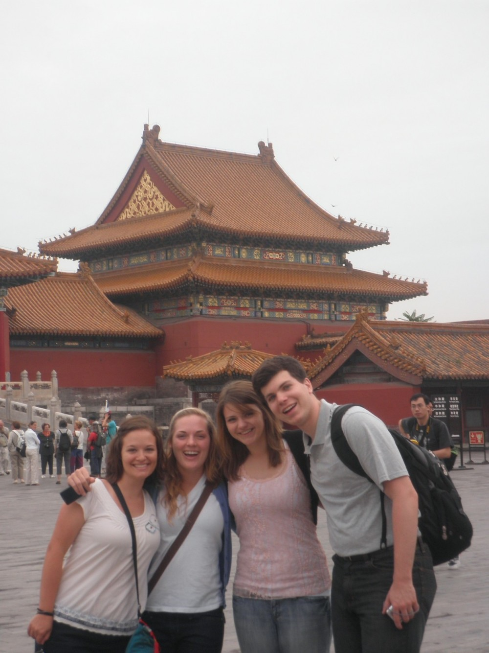 Andrea Loer, Bonnie Maddox, Katie Sokolyk and Ben Bracher pose for a photo in Shanghai.
